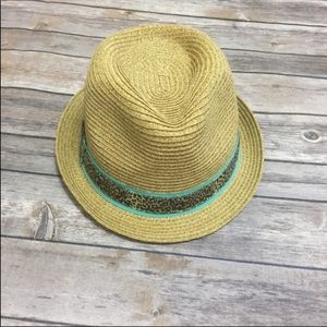 Fedora Hat with leopard and turquoise trim